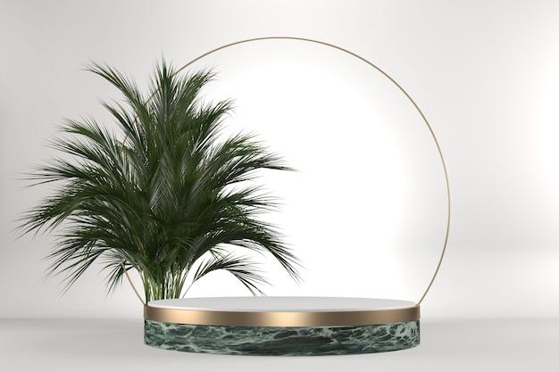 Le granit tropical podium géométrique et décoration de plantes sur fond blanc .3d rendering