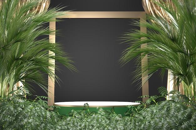 Le granit tropical podium géométrique et décoration de plantes sur fond noir .3d rendering