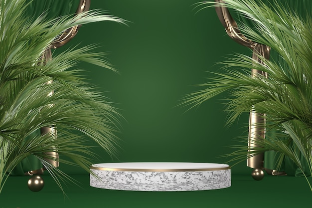 Granit tropical vert podium géométrique et décoration de plantes sur fond noir rendu .3d