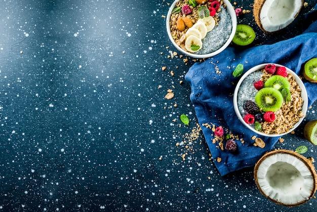 Granola au yogourt aux graines de chia, fruits frais et baies