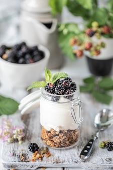 Granola fait à la main avec du yaourt naturel blanc avec des mûres dans un bocal en verre transparent