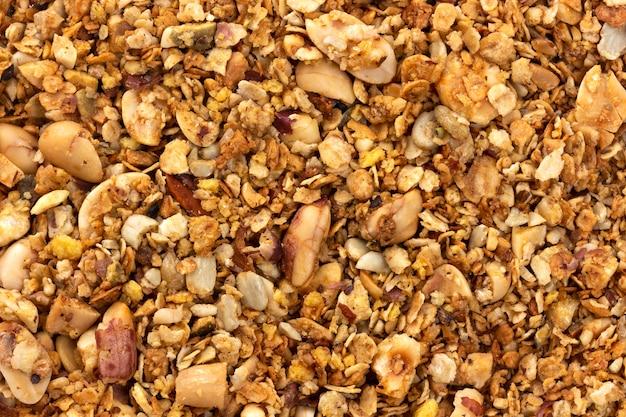 Granola avec fond de texture de noix