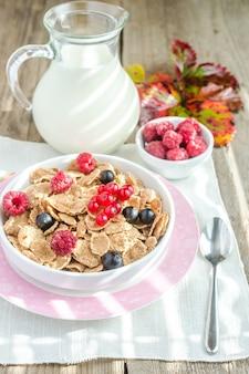 Granola de grains entiers avec du lait et des baies fraîches