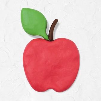 Graphique d'art créatif fait main de fruit d'argile de pomme mignon