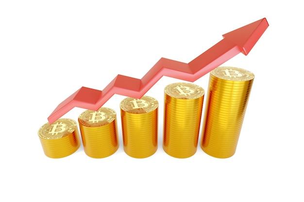 Graphique à barres de croissance avec des piles de bitcoins.