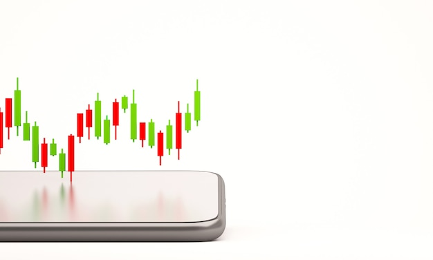 Graphique en bâton de bougie de la bourse en ligne avec téléphone portable, fond d'illustration de rendu 3d