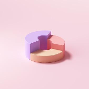 Graphique en beignet isométrique sur fond rose. illustration de rendu 3d.