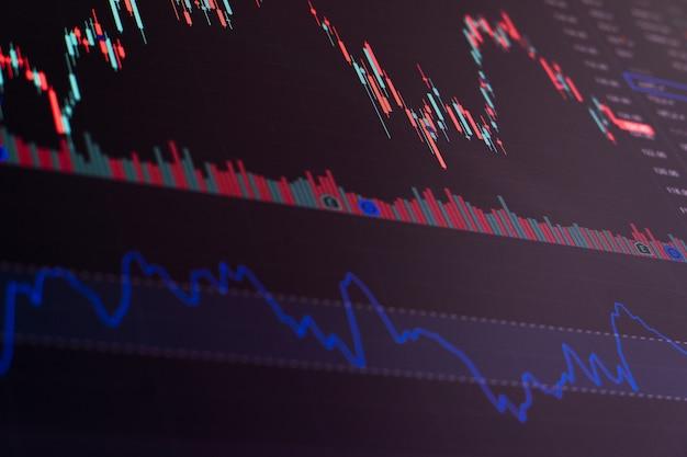 Graphique boursier financier. bourse. mise au point sélective.