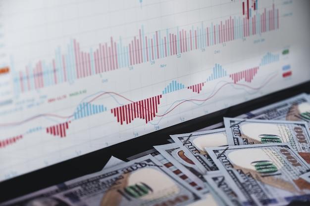 Graphique boursier sur ordinateur portable moniteur et banque en dollars simulent.