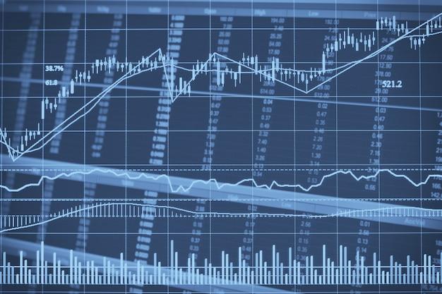 Graphique de chandelier financier abstrait avec graphique linéaire et numéros de stock