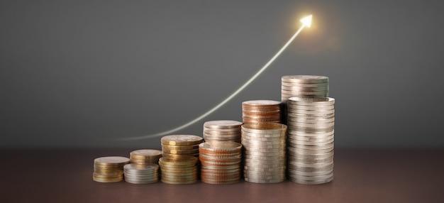 Graphique de chandelier graphique de trading forex du marché boursier adapté au concept d'investissement financier, graphique d'entreprise et pièces de monnaie