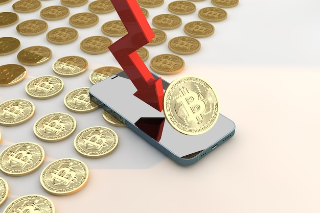 Graphique de crash bitcoin dans le concept de vente de panique de cycles. rendu 3d