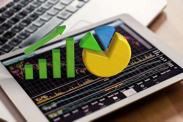 Graphique de croissance de rendu 3d et camembert sur tablette numérique