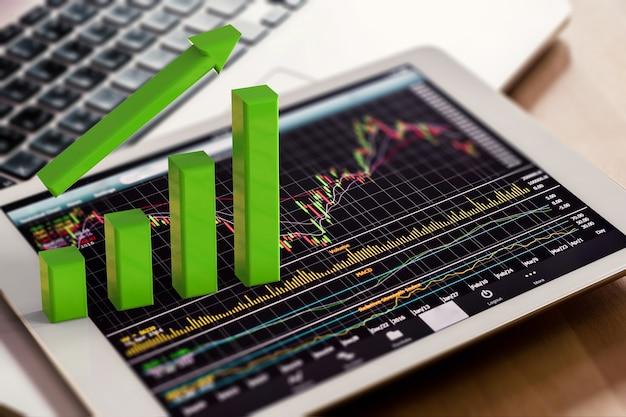 Graphique de croissance de rendu 3d sur tablette numérique