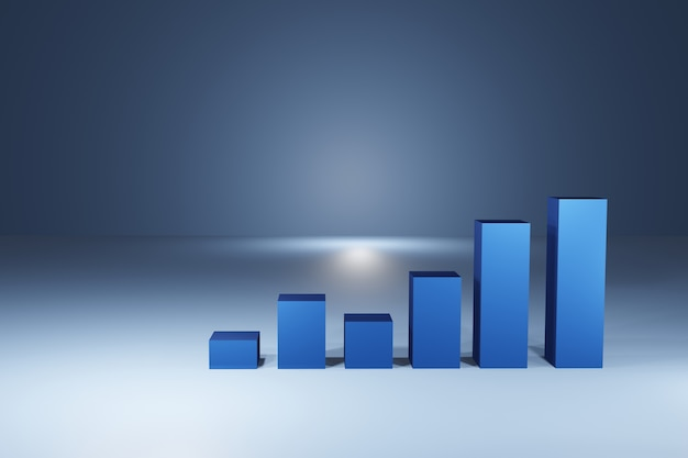 Graphique graphique de bâton de bougie d'affaires du trading d'investissement boursier sur fond bleu. point haussier, tendance du graphique