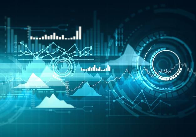 Graphique avec graphique en courbes de tendance à la hausse, diagramme à barres et diagramme en marché haussier sur fond bleu foncé.