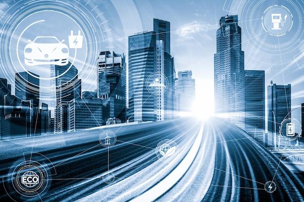 Graphique de réalité virtuelle de voiture électrique sur route dans une station de recharge ev à vitesse rapide