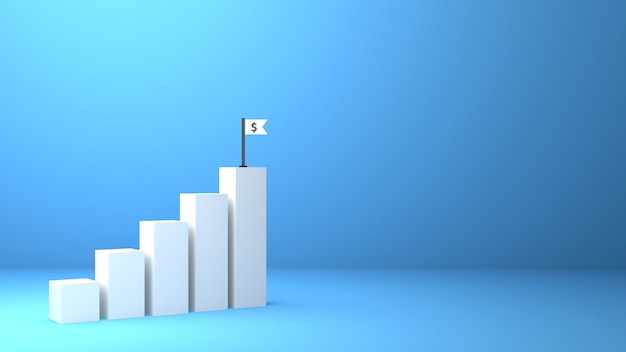 Le graphique rendu 3d augmente la croissance des bénéfices de l'entreprise vers le succès