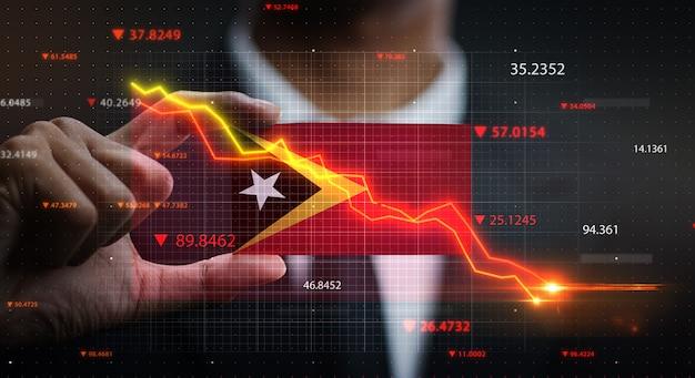 Graphique tombant devant le drapeau du timor oriental. concept de crise