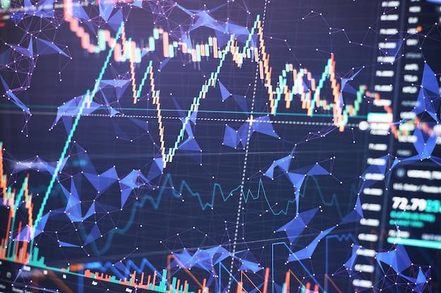 Graphiques à barres, diagrammes, chiffres financiers. graphique forex. concept de bourse et de fintech. interface financière futuriste.
