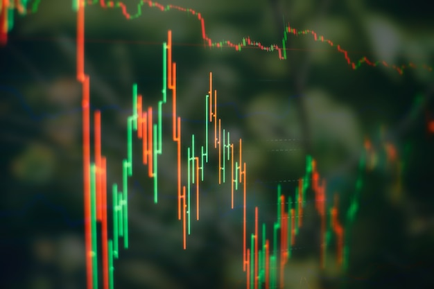 Graphiques à barres, diagrammes, chiffres financiers. graphique forex. graphique de graphique de bâton de bougie de commerce d'investissement de marché boursier. le graphique graphique forex sur l'écran numérique.