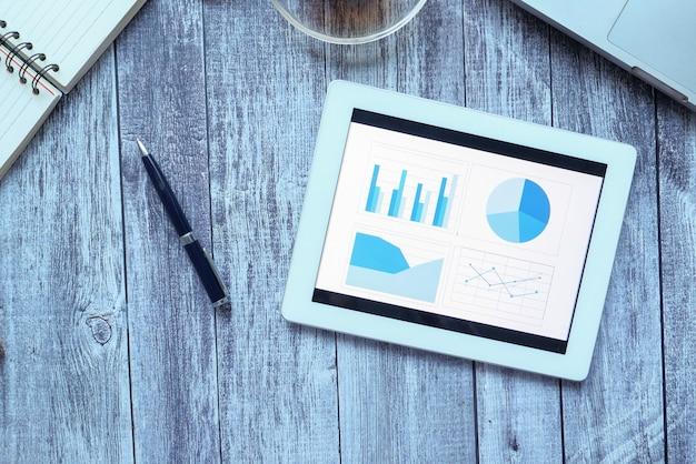 Les graphiques financiers s'affichent sur une tablette numérique sur une table de bureau