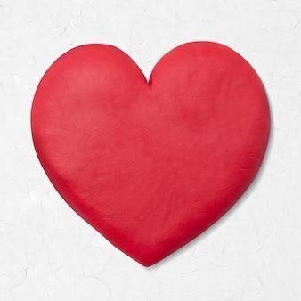 Graphisme rouge d'argile sèche de coeur mignon pour des enfants
