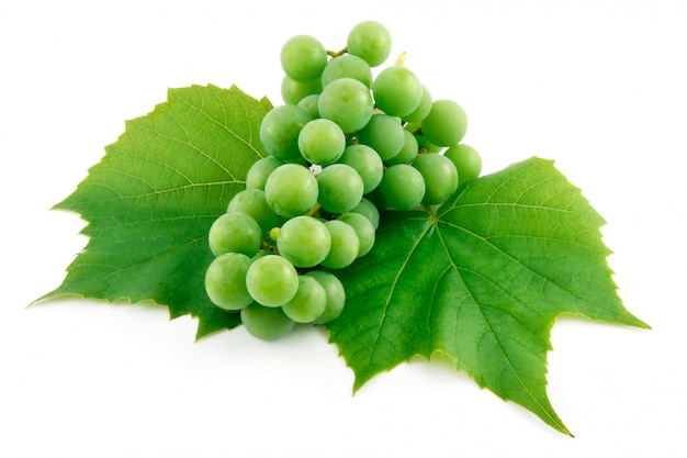 Grappe de raisin vert mûr avec feuille isolée on white