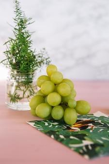 Grappe de raisin vert et romarin sur table rose