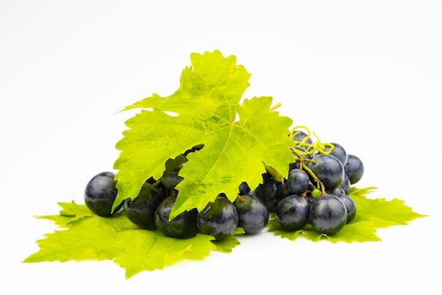 Une grappe de raisins noirs frais avec des feuilles vertes isolées sur fond blanc.