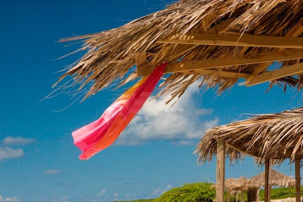 Grass shelter sur la plage d'aruban