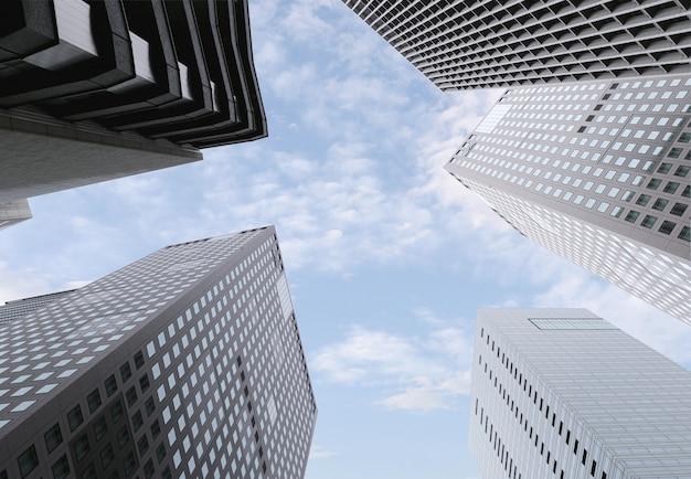 Gratte-ciel ou bâtiment élevé au centre-ville.