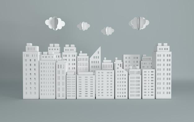 Gratte-ciel et nuages de papier blanc bâtiment architectural en vue panoramique