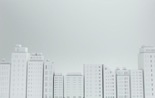 Gratte-ciel en papier blanc bâtiment architectural en vue panoramique