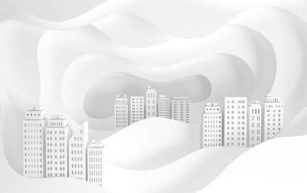 Gratte-ciel et vagues de papier blanc bâtiment architectural en vue panoramique