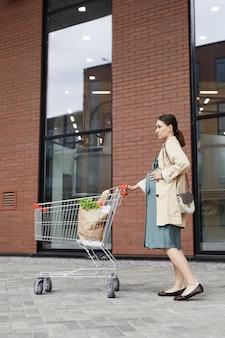 Grave femme caucasienne enceinte en manteau debout avec panier et tenant la main sur le ventre contre le magasin