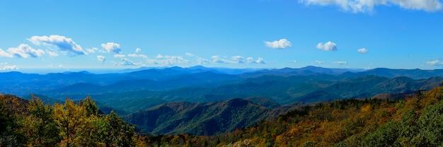 Le green knob overlook se trouve sur la blue ridge parkway en caroline du nord et offre des vues dans deux directions