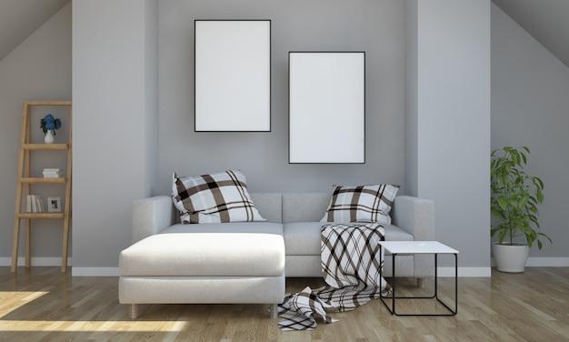 Grenier gris avec maquette à deux affiches