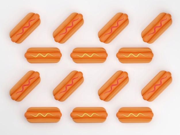 Grill à hot-dog à la moutarde isolé sur fond de rendu 3d