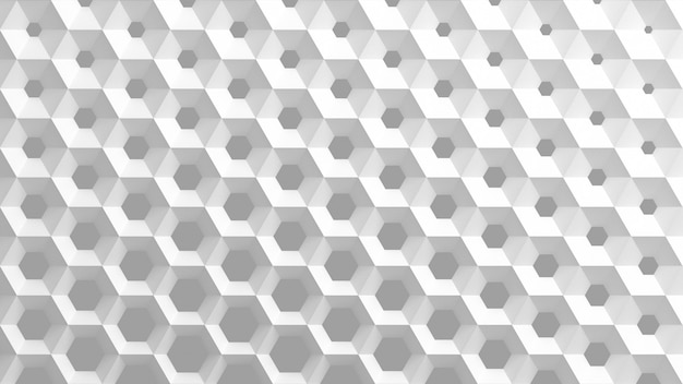 La grille blanche de cellules en forme de nids d'abeilles hexagonaux de diamètre différent