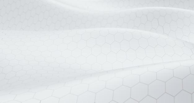 Grille hexagonale blanche vagues concept de technologie 3d paysage abstrait hexagone