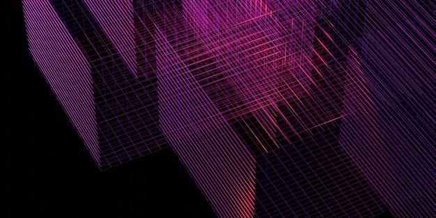 Grille laser violet lueur rouge et bleu illustration 3d