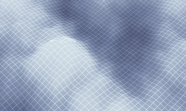 Grille de montagne topographique grise en rendu 3d