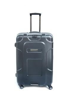 Gris de grande valise moderne sur un blanc