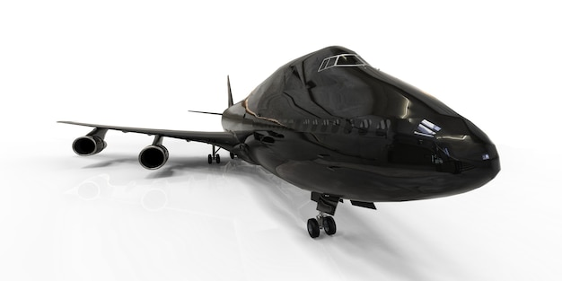 Gros avion de ligne pour les vols transatlantiques avion noir sur fond blanc