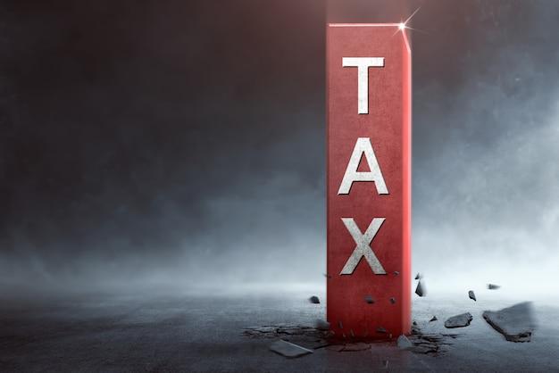 Gros bloc avec texte d'impôt sortant du sol