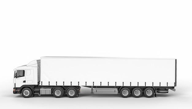 Gros camion à bâche blanche.
