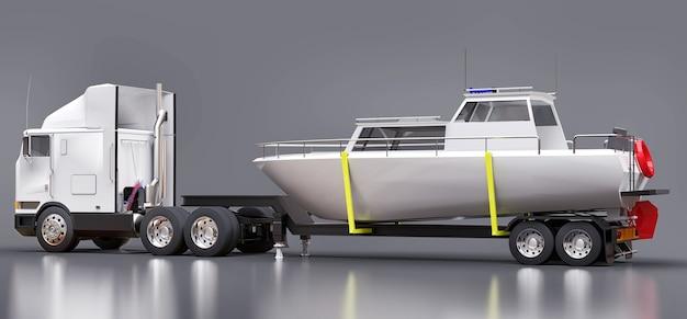 Un gros camion blanc avec une remorque pour transporter un bateau sur fond gris. rendu 3d.