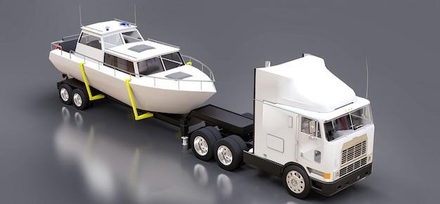 Un gros camion blanc avec une remorque pour transporter un bateau sur une surface grise