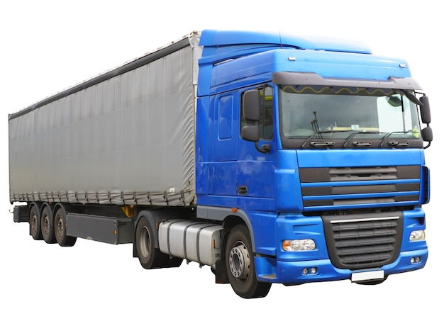 Gros camion bleu. isolé sur blanc.